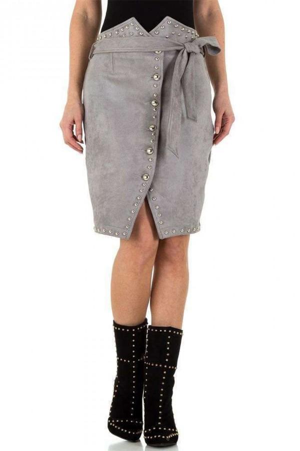 Γκρι σουέτ φούστα με τρουκς