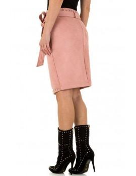 Ροζ σουέτ φούστα με τρουκς