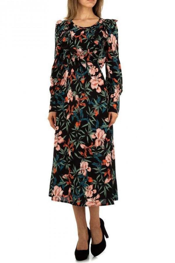 Μαύρο φλοράλ μίντι φόρεμα με βολάν