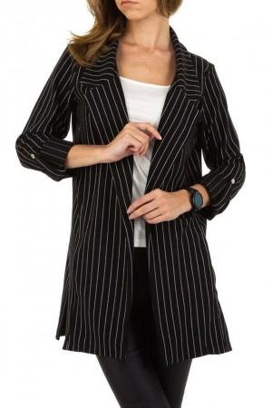 Μαύρο ριγέ μακρύ blazer