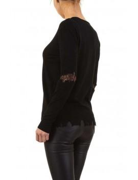 Λεπτό πουλόβερ με δαντέλα στους αγκώνες - Μαύρο