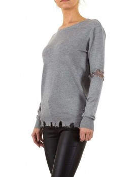 Λεπτό πουλόβερ με δαντέλα στους αγκώνες - Γκρι