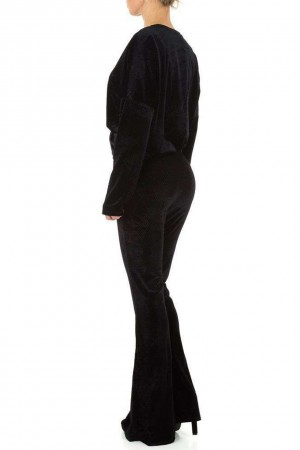 Βελουτέ σετ φόρμας - Μαύρο