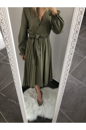 Κρουαζέ πλισέ φόρεμα-Χακί