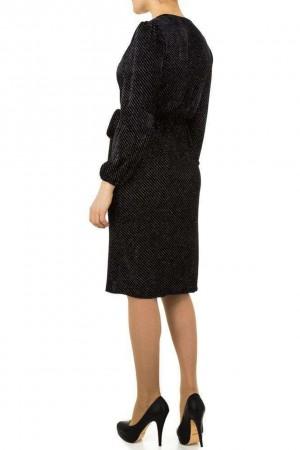 Βελουτέ κρουαζέ φόρεμα - Μαύρο