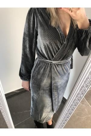 Βελουτέ κρουαζέ φόρεμα - Γκρι