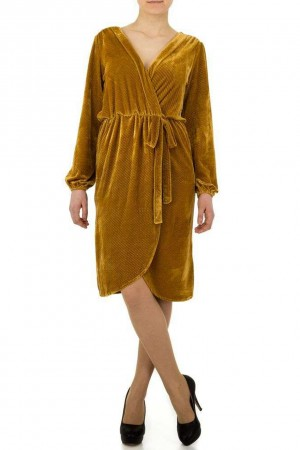 Βελουτέ κρουαζέ φόρεμα - Μουσταρδί