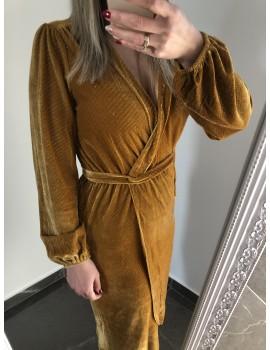 Βελουτέ κρουαζέ φόρεμα - Καμηλό