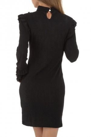 Φόρεμα με γκλίτερ και βολάν- Μαύρο