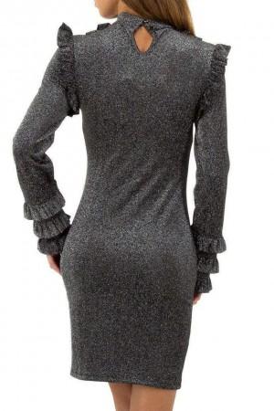 Φόρεμα με γκλίτερ και βολάν- Γκρι-ασημί