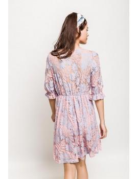 Ροζ φόρεμα με δαντέλα Lilie Rose