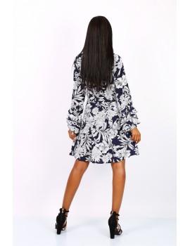 Μπλε/λευκό φλοράλ φόρεμα με μανίκι με βολάν