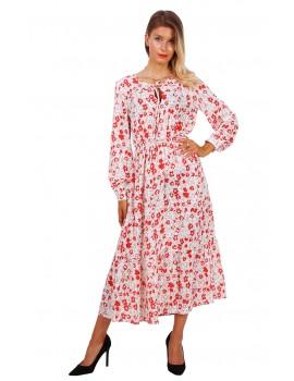 Κόκκινο/λευκό εμπριμέ μίντι φόρεμα