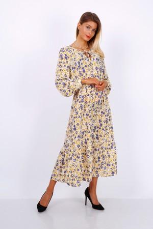 Κίτρινο/μωβ εμπριμέ μίντι φόρεμα
