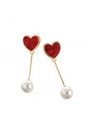 Σκουλαρίκια καρδιές με κρεμαστή πέρλα