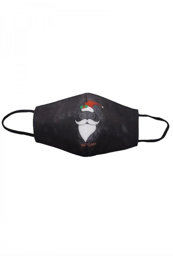 Μαύρη μάσκα προσώπου ενηλίκων με Άγιο Βασίλη