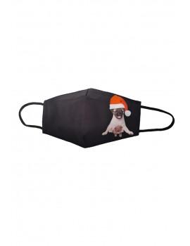 Μαύρη χριστουγεννιάτικη μάσκα προσώπου ενηλίκων με σκύλο και γάτα
