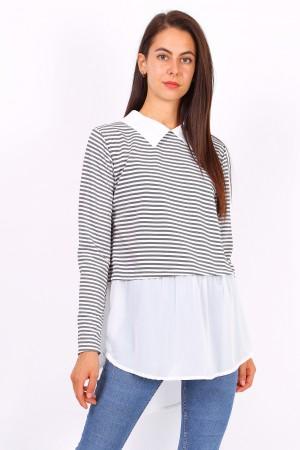 Ριγέ μπλουζάκι με γιακά- Μαύρο