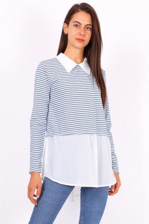 Ριγέ μπλουζάκι με γιακά- Ανοιχτό τζιν