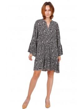Ριχτό φόρεμα ζέβρα-Μπεζ