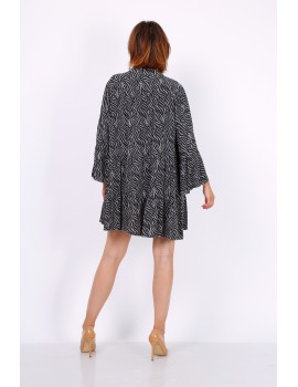 Ριχτό φόρεμα ζέβρα-Γκρι
