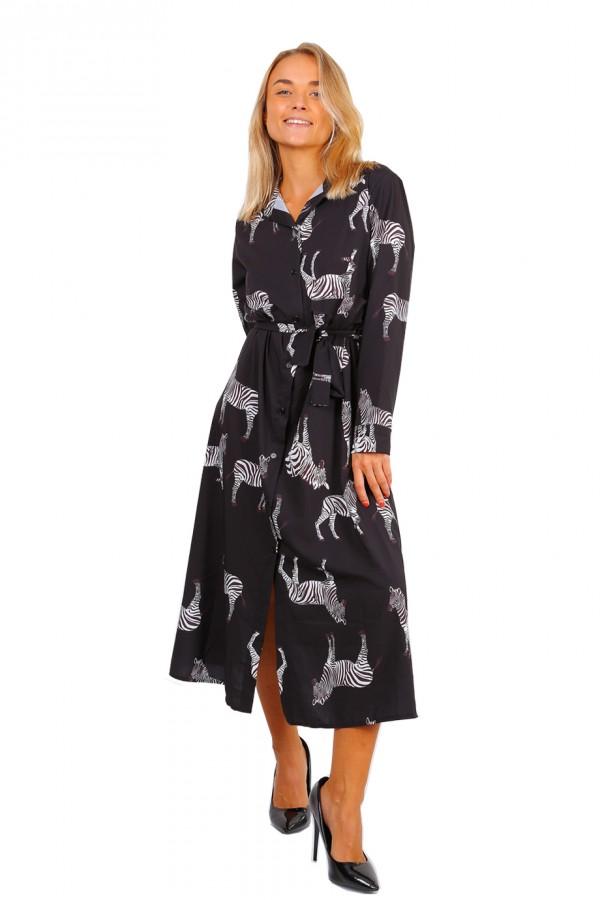 Μακρύ πουκαμισο-φόρεμα safari print