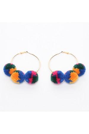 Σκουλαρίκια κρίκοι με πολύχρωμα πομ-πομ