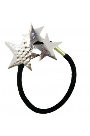 Μαύρο λαστιχάκι μαλλιών με ασημί αστέρια