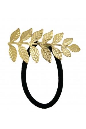 Μαύρο λαστιχάκι μαλλιών με χρυσό φύλλο