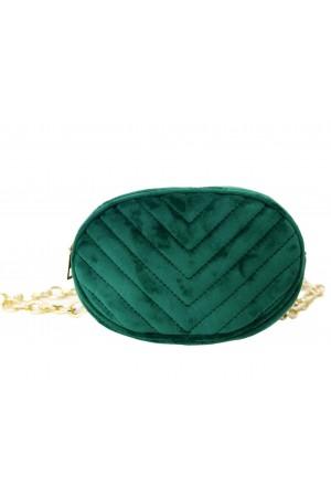Πράσινο βελούδινο τσαντάκι μέσης με χρυσή αλυσίδα