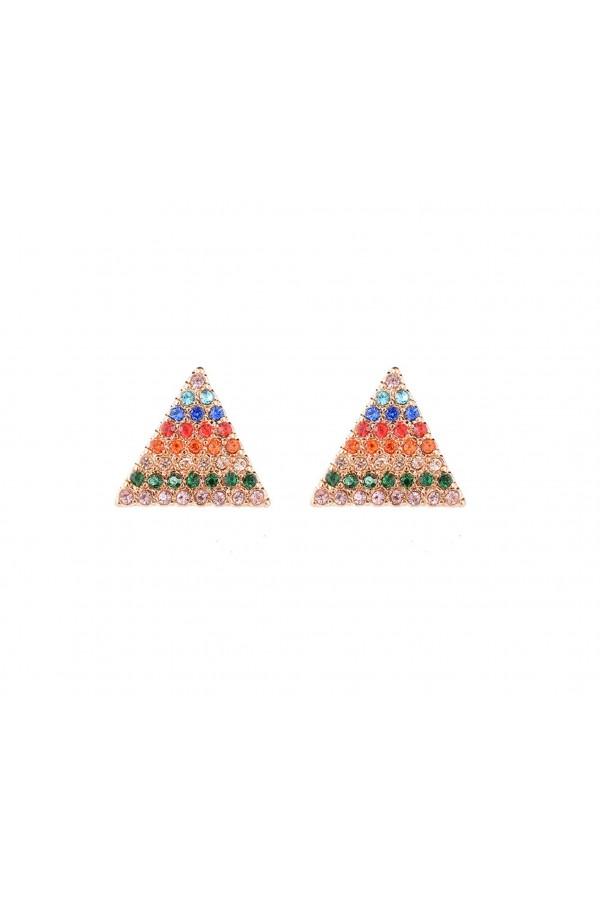 Τρίγωνα σκουλαρίκια ουράνιο τόξο επίχρυσα