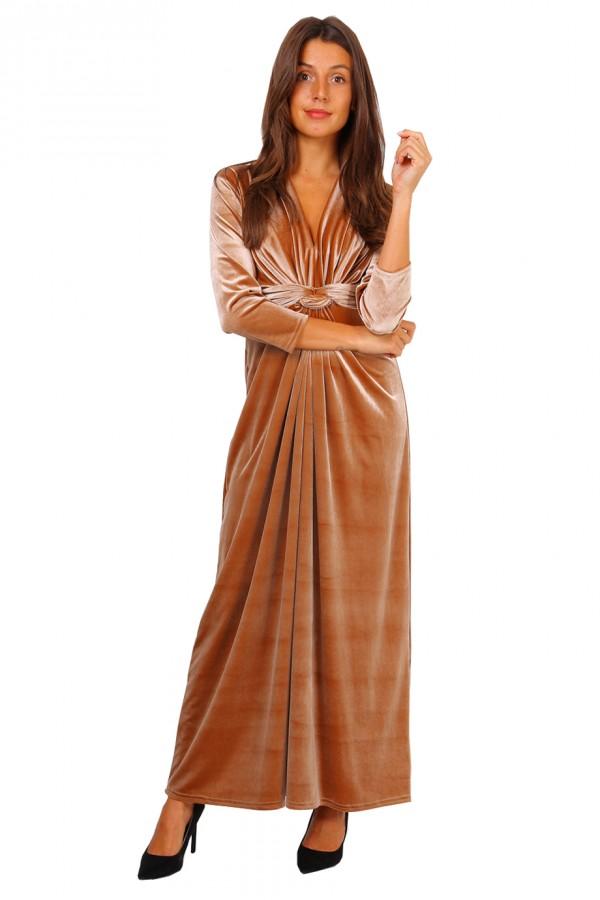 Μακρύ βελούδινο φόρεμα με κόμπο- Καμηλό