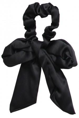 Υφασμάτινο scrunchie με μακριά ουρά - Μαύρο