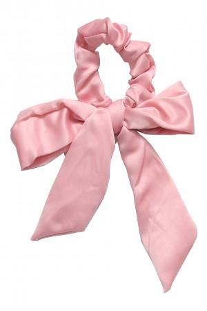 Υφασμάτινο scrunchie με μακριά ουρά - Ροζ