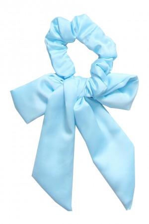 Υφασμάτινο scrunchie με μακριά ουρά - Γαλάζιο