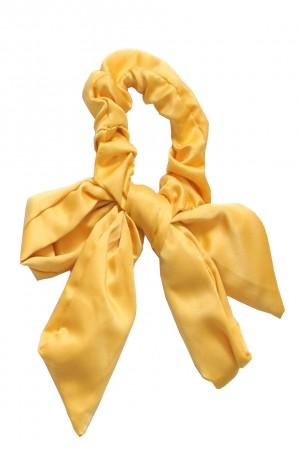 Υφασμάτινο scrunchie με μακριά ουρά - Κίτρινο