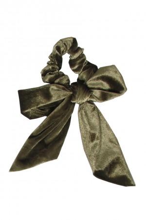Βελούδινο scrunchie με μακριά ουρά - Πράσινο