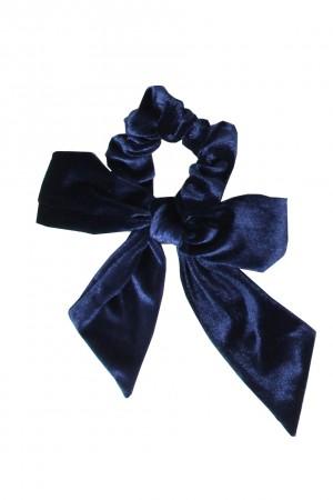 Βελούδινο scrunchie με μακριά ουρά - Μπλε σκούρο