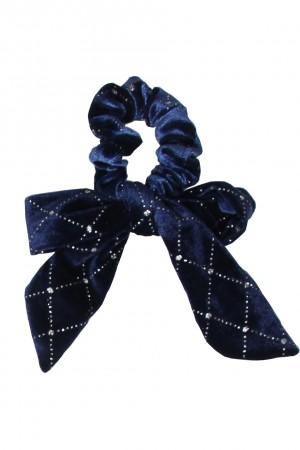 Βελούδινο ανάγλυφο scrunchie με μακριά ουρά - Μπλε σκούρο