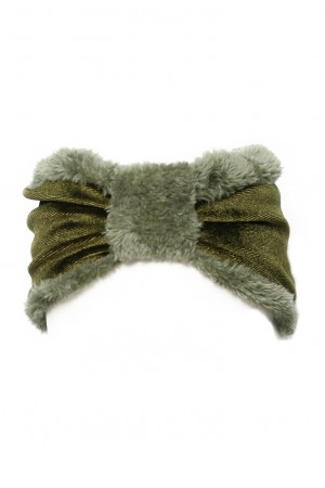 Πράσινη βελούδινη κορδέλα μαλλιών με γούνα