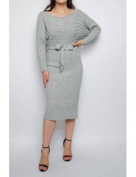Πλεκτό μίντι φόρεμα με ζώνη - Γκρι