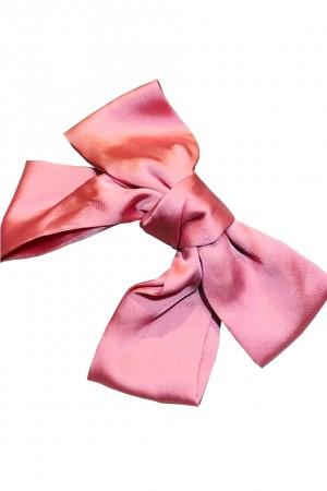 Ροζ σατινέ φιόγκος μαλλιών με κλιπ
