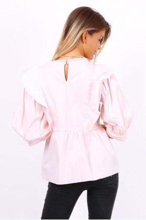 Μπλουζάκι-πουκάμισο με βολάν - Ροζ
