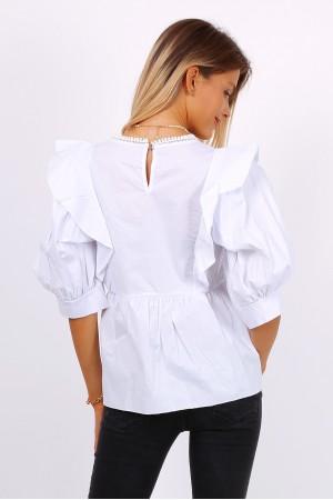Μπλουζάκι-πουκάμισο με βολάν - Λευκό