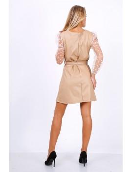 Φόρεμα από δερματίνη με πουά μανίκια από τούλι - Μπεζ