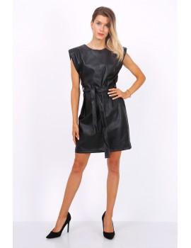 Φόρεμα από δερματίνη με βάτες- Μαύρο