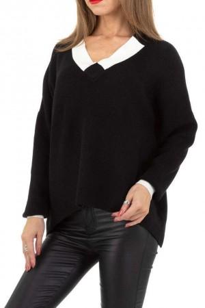 Μαύρο πουλόβερ διχρωμία στο γιακά και τα μανίκια
