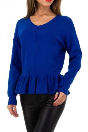 Μπλε ηλεκτρίκ πουλόβερ με peplum