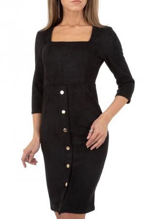 Suede φόρεμα με κουμπιά - Μαύρο