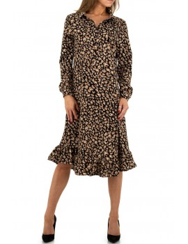 Λεοπάρ μίντι πουκαμισο-φόρεμα με βολάν στο τελείωμα - Μαύρο